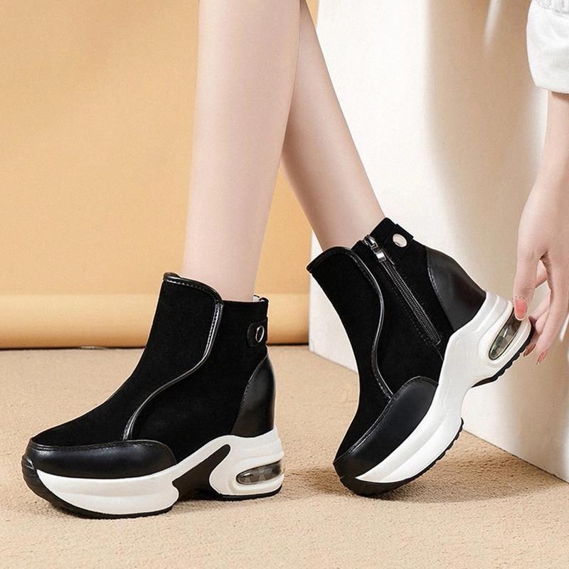 Rimocy hiver hiver hauteur hauteur augmente chaussures femmes chaleureuse plate-forme courte plateforme chaussures de cheville dames talons hauts courts Botas Femme 2020 # TV6n