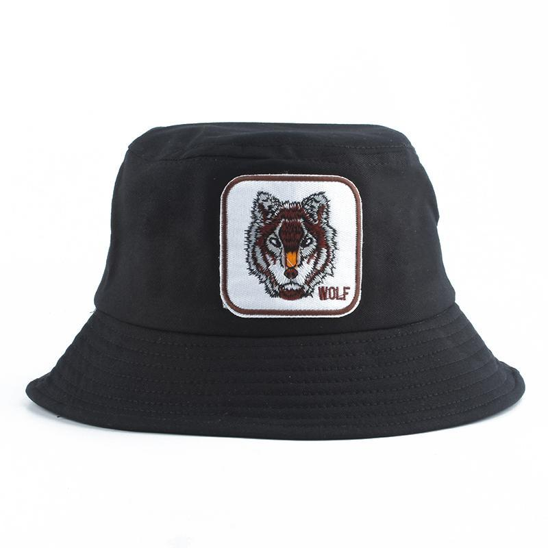 Wolf Embroidery Bucket Hat Men Fishing Hat Women Summer Animals Caps Panama Street Bob Hip Hop Gorros
