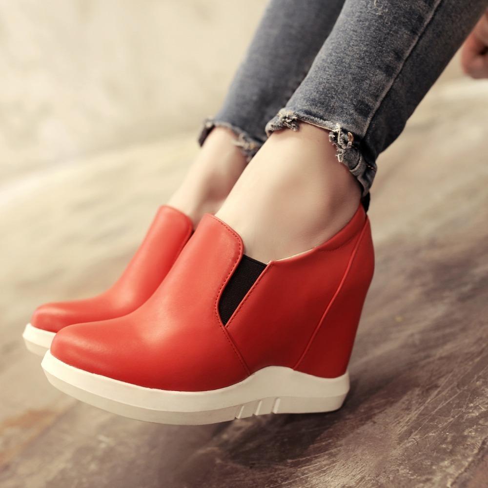 Plataforma oculta cuñas zapatillas de deporte mujer primavera otoño casual mujeres zapatos en plataforma comodidad tacones tacones rojo zapatilla blanca mujer lj201019