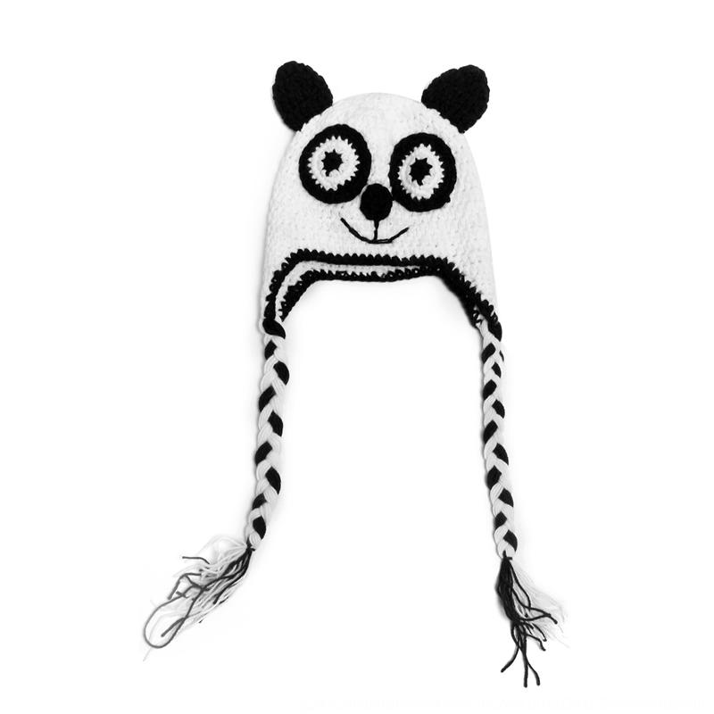 Wta1T New autumn and winter panda hat children's ear protection handmade hat new bath gift for boys gift wool wool Wool
