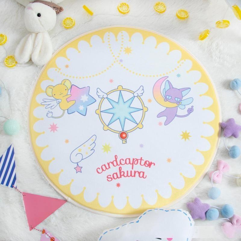 Desenhos animados Card Captor Sakura Rodada estilo de decoração Tapetes Magia matriz KERO flanela Início Quarto Sala tapete do assoalho Capacho