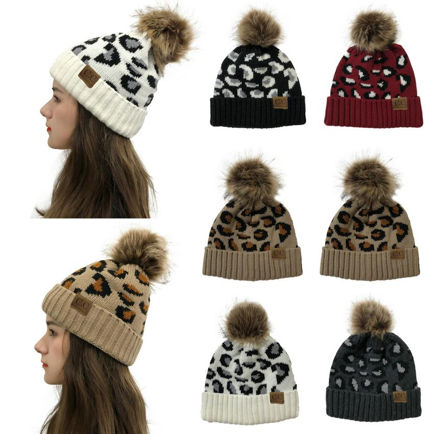 2021 New Leopard Knitted Hats Pom Pom Fur Ball Beanies Women Winter Warm Wool Knitted Hat Outdoor Keep Warm Beanie Caps