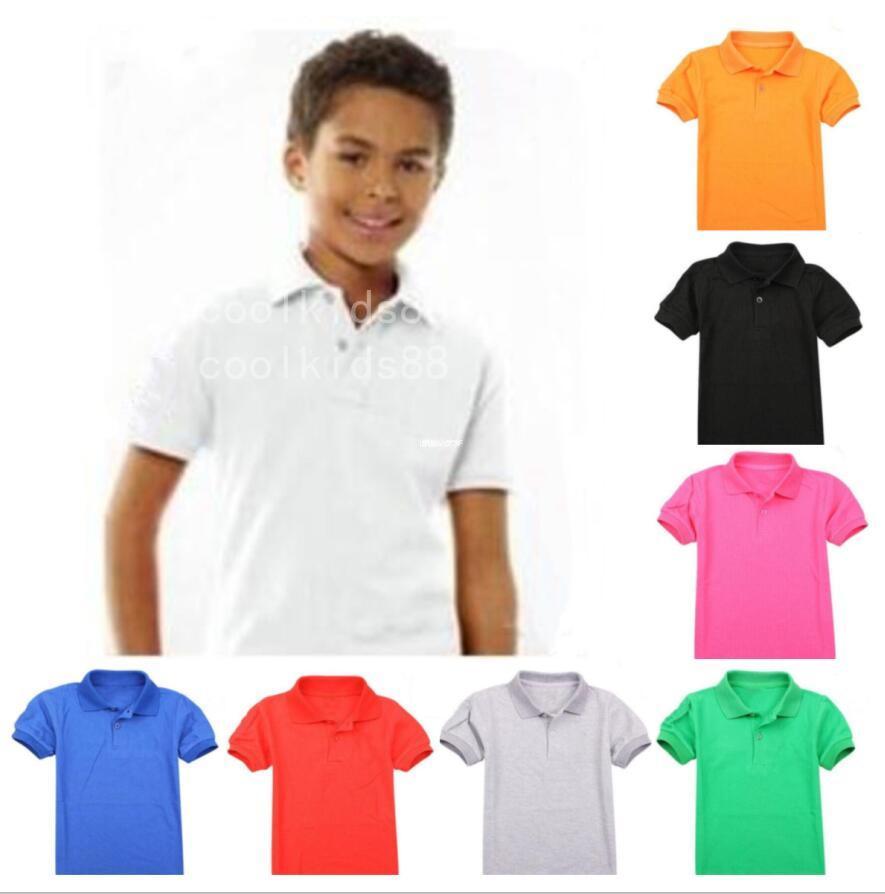 2021 Детская футболка Случайные Детские Отвороты с короткими рукавами Детская Рубашка Мальчики Девочки Топы The Tees Детские хлопковые футболки