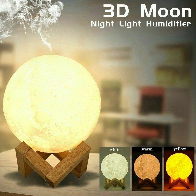 880ML Air Humidifier3D Lune Lampe Aroma Diffuseur Huile Essentielle USB Accueil Purificateur cadeaux pour maman Petite amie Femmes