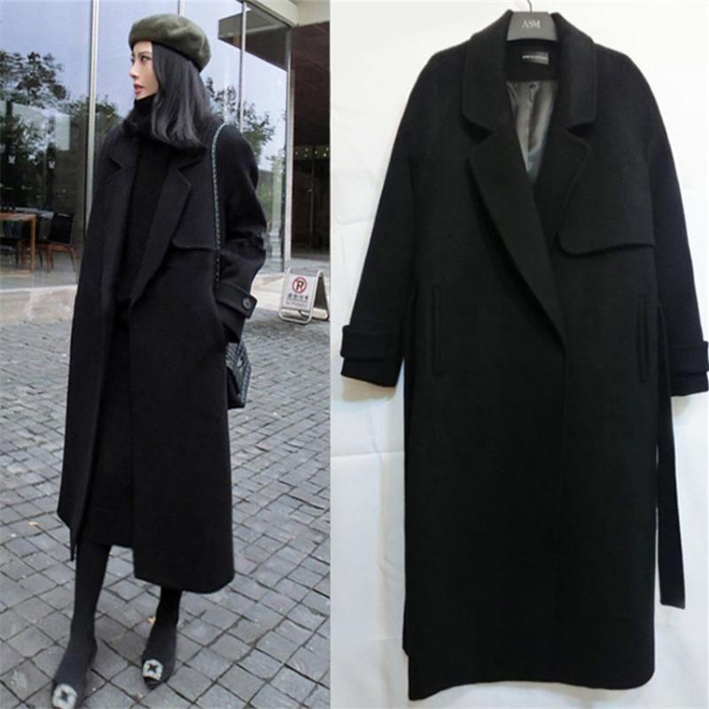 Manteau de laine Femmes Noir Midi longue section Liste Lady manches longues Veste d'hiver matelassée coton Manteaux Manteaux Streetwear WZ509