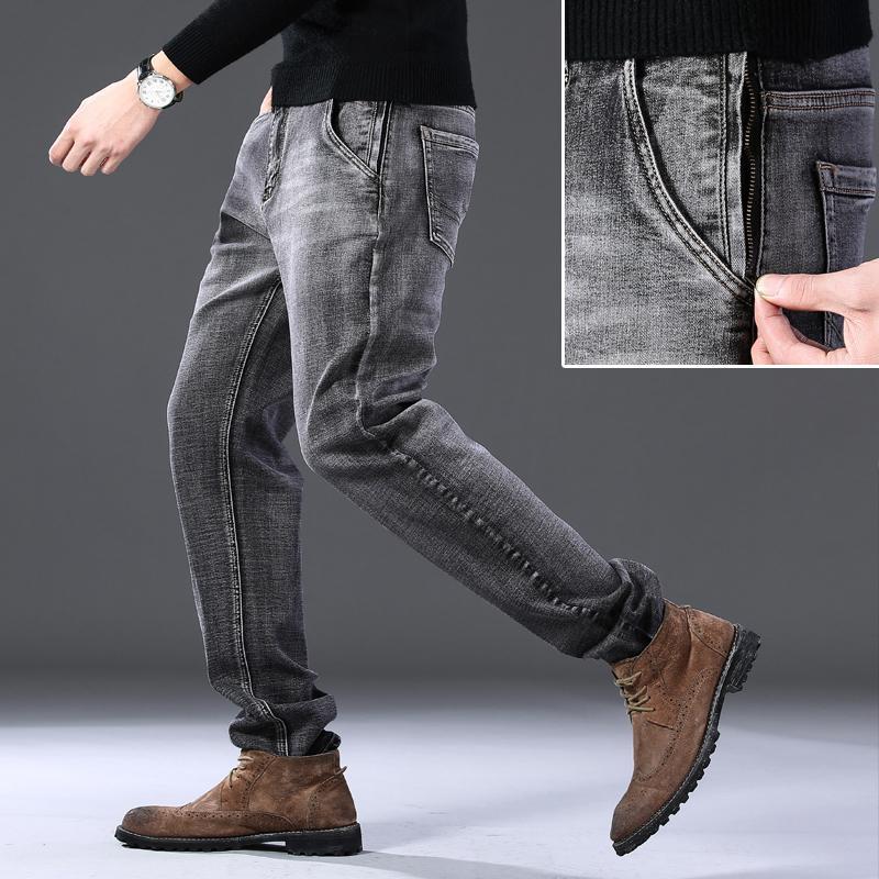 2020 inverno outono Nova calça jeans Alta Qualidade Stretch Slim Clássico Preto / Smoky Cinza Negócios Solto Calças Casuais Marca Masculina