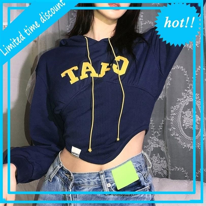 Wind 2020 Herbst und Winter Neue Frauen Mode Buchstaben bestickter unregelmäßiger langarmer Kapuzenpullover