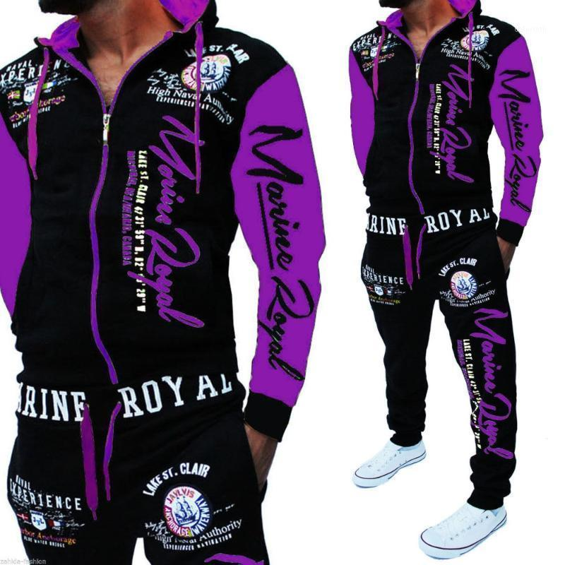 ZOGAA Brand Mens Tacksuit 2020 Ropa para hombre Casual Polyester 2 pieza Set 7 Colores Hombres Sweat Stand Size S-3XL1
