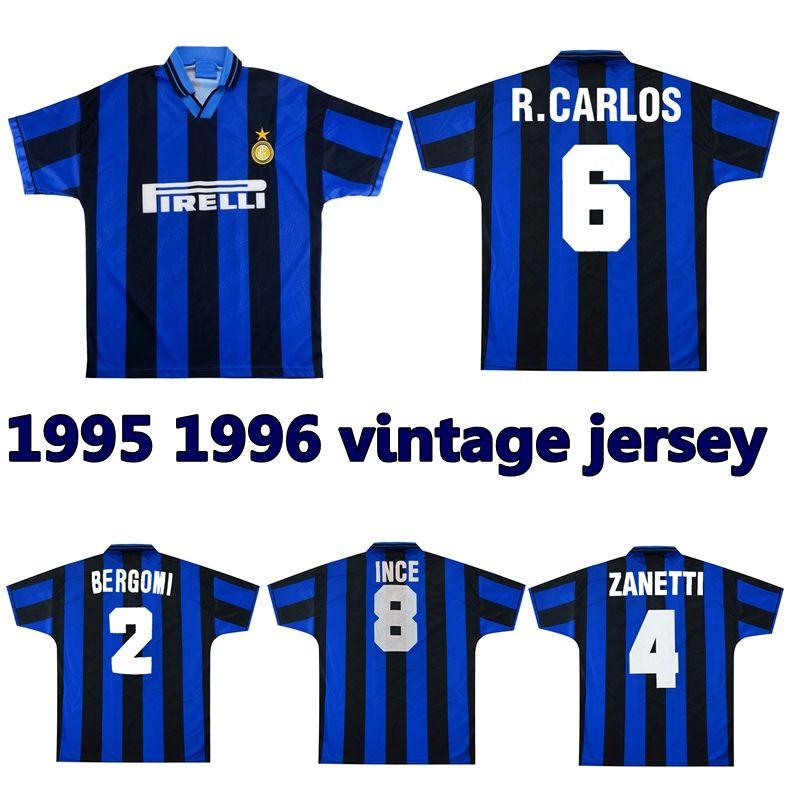 1995 1996 Jersey de futebol inter retro 95 96 Roberto Carlos Zanetti Bergomi Branca Ince Berti Clássico Camisa de Futebol Vintage