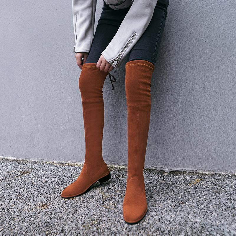 2021 New Women's Autumn Thigh Boots Winter Plush Over The Knee Boots Sexy Female Stretch Low Heel 34-43