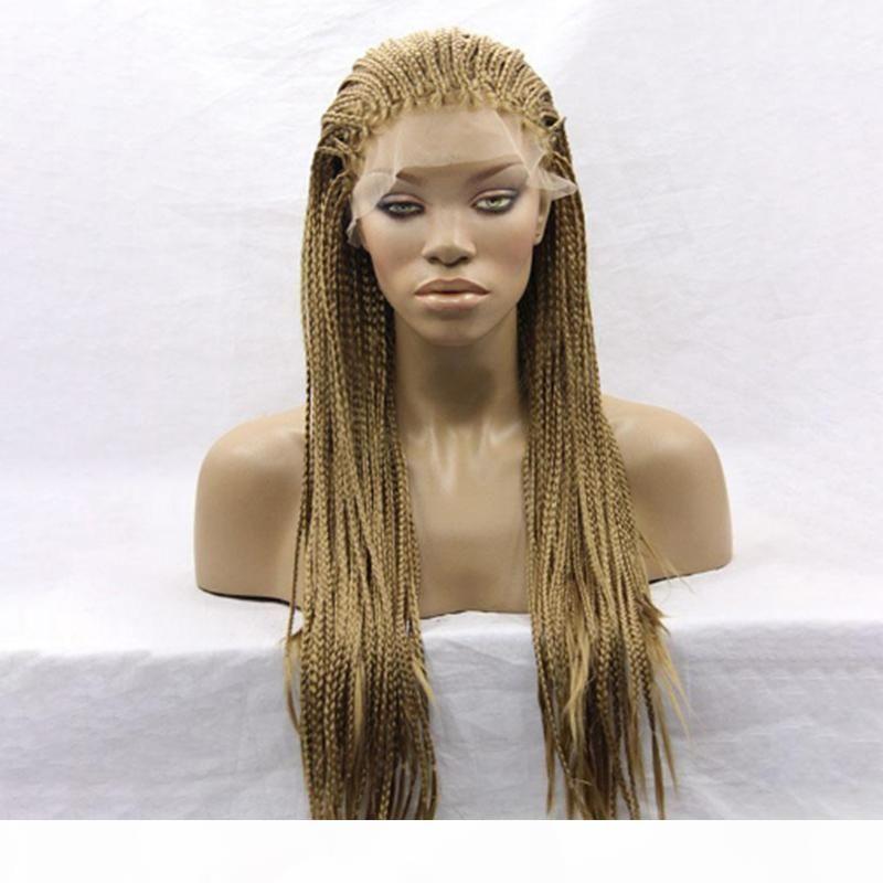 Moda Uzun Afrikalı Amerikalı Kadınlar için Örgülü Dantel Açık Peruk Kahverengi Renk Mikro Örgü ile Bebek Saç Isıya Dayanıklı Sentetik Peruk çevirin