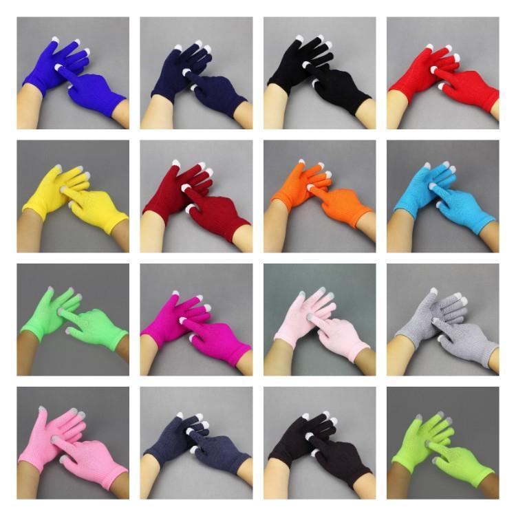Горячая зима Сенсорные перчатки Упругие мужчин и женщин моды Вязаная Finger осень и зима Теплые трикотажные перчатки T2C5302