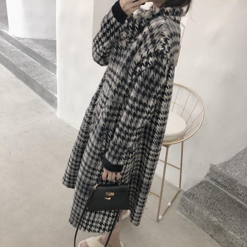 Chorlillo, tela de lana, abrigo de larga longitud femenina que llama en celosía Winter Winte Over-the-Knee Rongchang Modelo