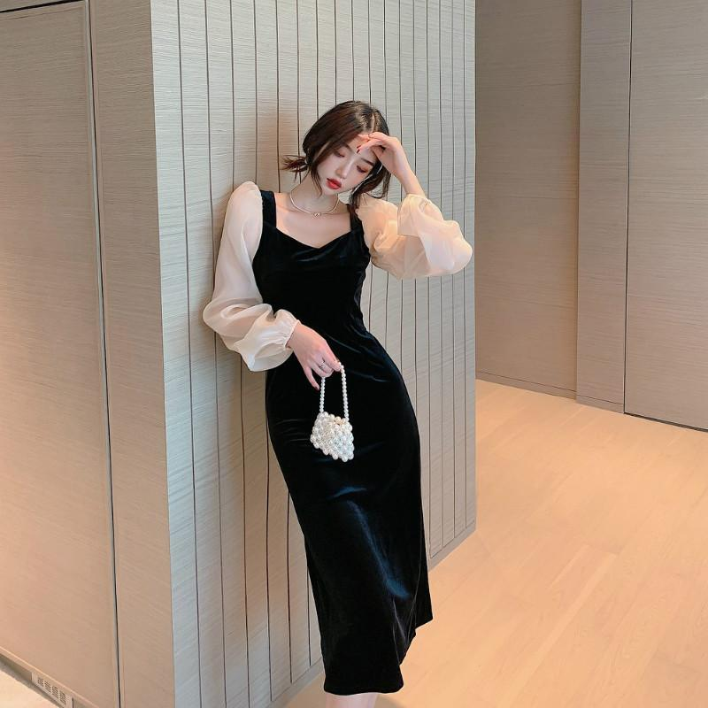 Повседневные платья COUGARSAM Французская Стиль Лоскутное Женщины Платье Весенняя Винтаж Полный Рукав Высокая талия Black 1988