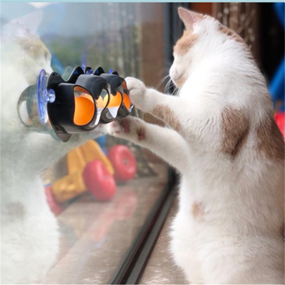 Cat Funny Ball Toy Window Table Tennis Adsorption Glass Sucker Track Play Tunnel Balls Pet Toys Kitten Educational Toys