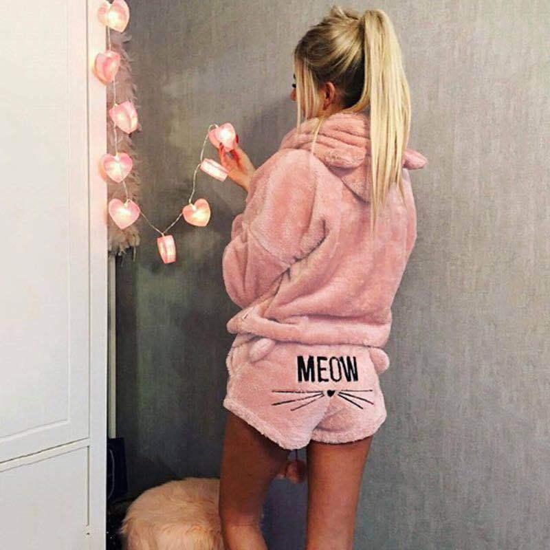 Plus größe winter verdicken 5xl zwei stücke set familie schlafwäsche hoodies shorts hosen frauen pyjamas mit niedlichen kitty muster y0112