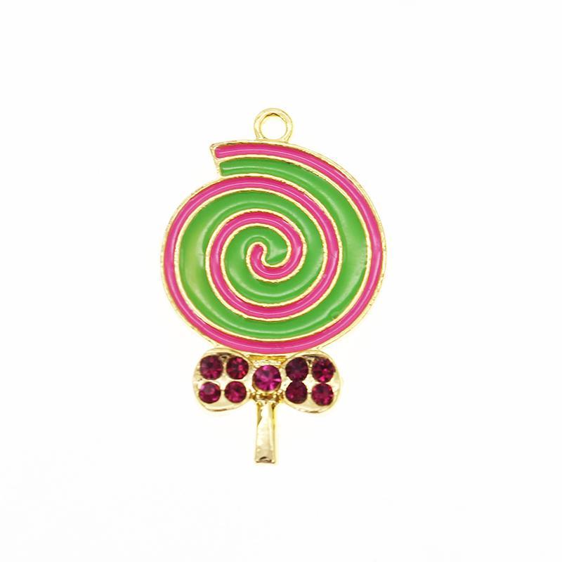 Pure spin Colorful crystal enamel lollipop pendant necklace rhinestone lollipop kids tiny charm pendant