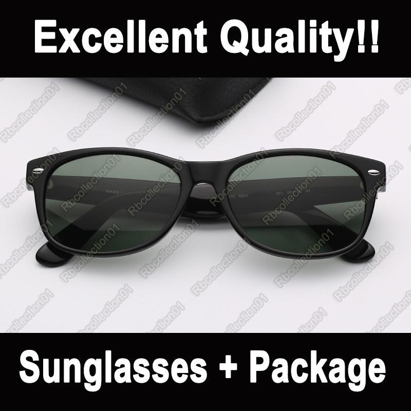 Hommes Mode Sunglasses Brand Sun Lunettes Femme Lunettes de soleil Fashion Noir Cadre Verres vertes Protection UV avec étui en cuir GDCPK