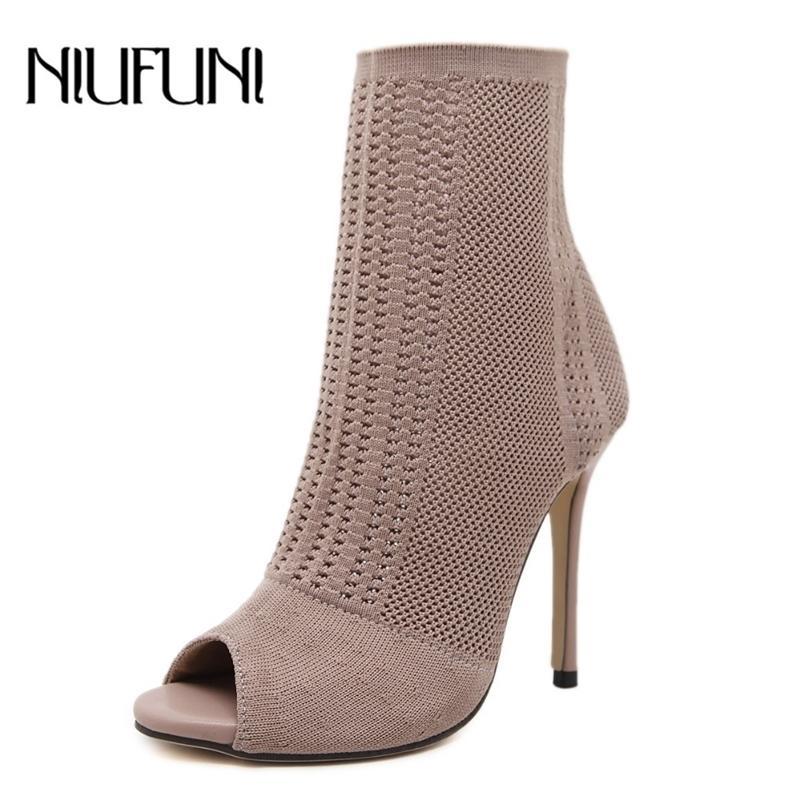 Niufuni Frauen Stiefel High Heels Mode Peep Toe Stricksocke Knöchelschuhe Frühling Herbst Schuhe Frau Sexy dünne Fersen Lady Boots 201128