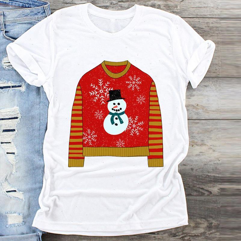 Frauen Kleidung Schneemann Winterzeit Druck Frohe Weihnachten Druck Kleidung Grafik Top T-shirt Damen Weibliche T-Shirts T-Shirt