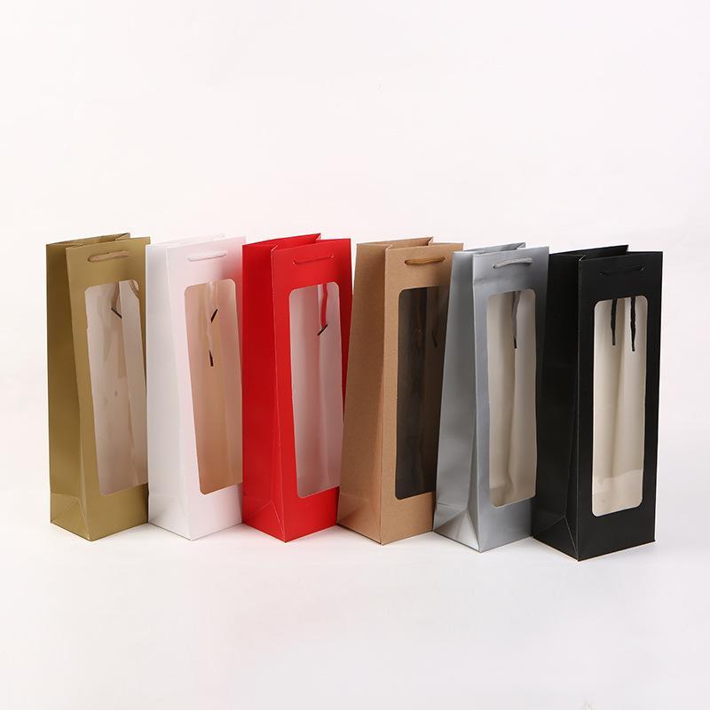 Nouveau gros sac de papier vin avec fenêtre Portable sac rouge vin sac cadeau Livraison gratuite WB2946