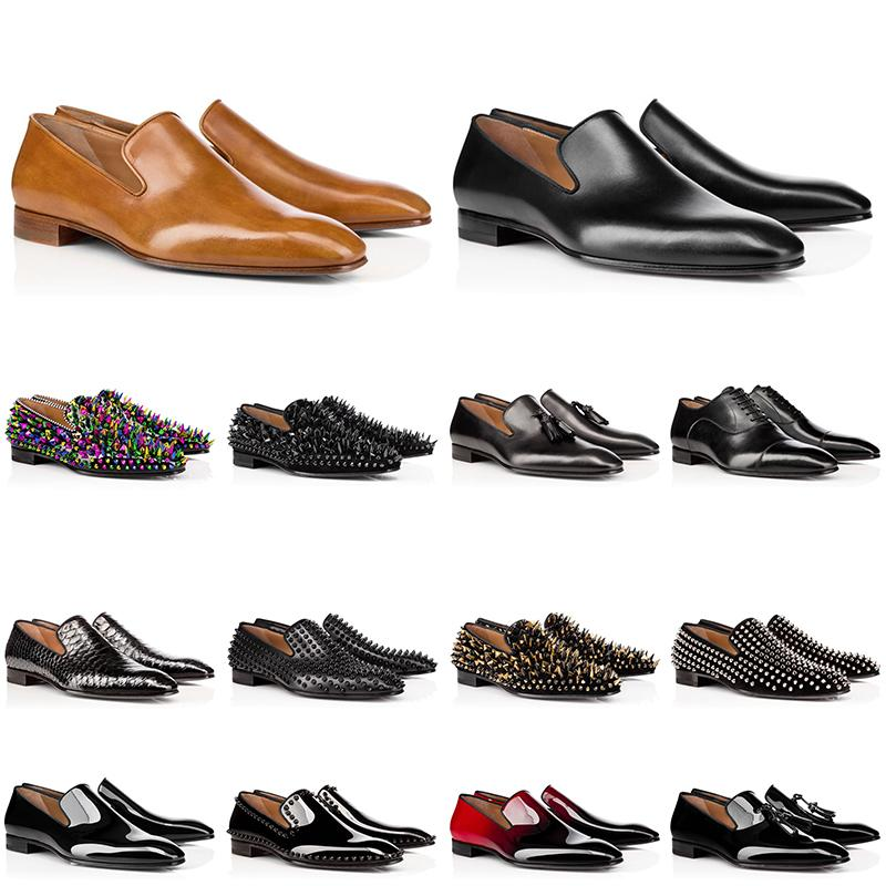 2020 taglio su misura mens pattini di cuoio genuini scarpe da ginnastica rosse in basso a taglio basso tempestato picchi di scarpe da sera progettista mens di lusso allenatore