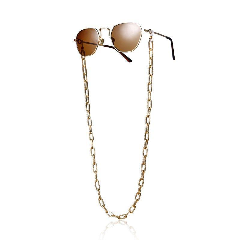 2020 جديد أزياء سميكة الشبكة سلسلة نمط الشرير النساء نظارات شمسية سلاسل جميلة معدن نظارات سلسلة فيكس بواسطة حزام مطاط بالجملة