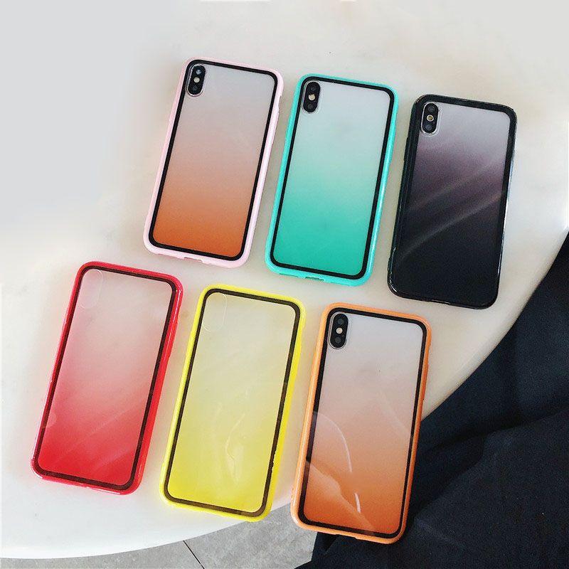 iphone için Gradient şeffaf telefon kılıfı 11 pro max XR XS Max 8plus 8 7 artı arka kapak