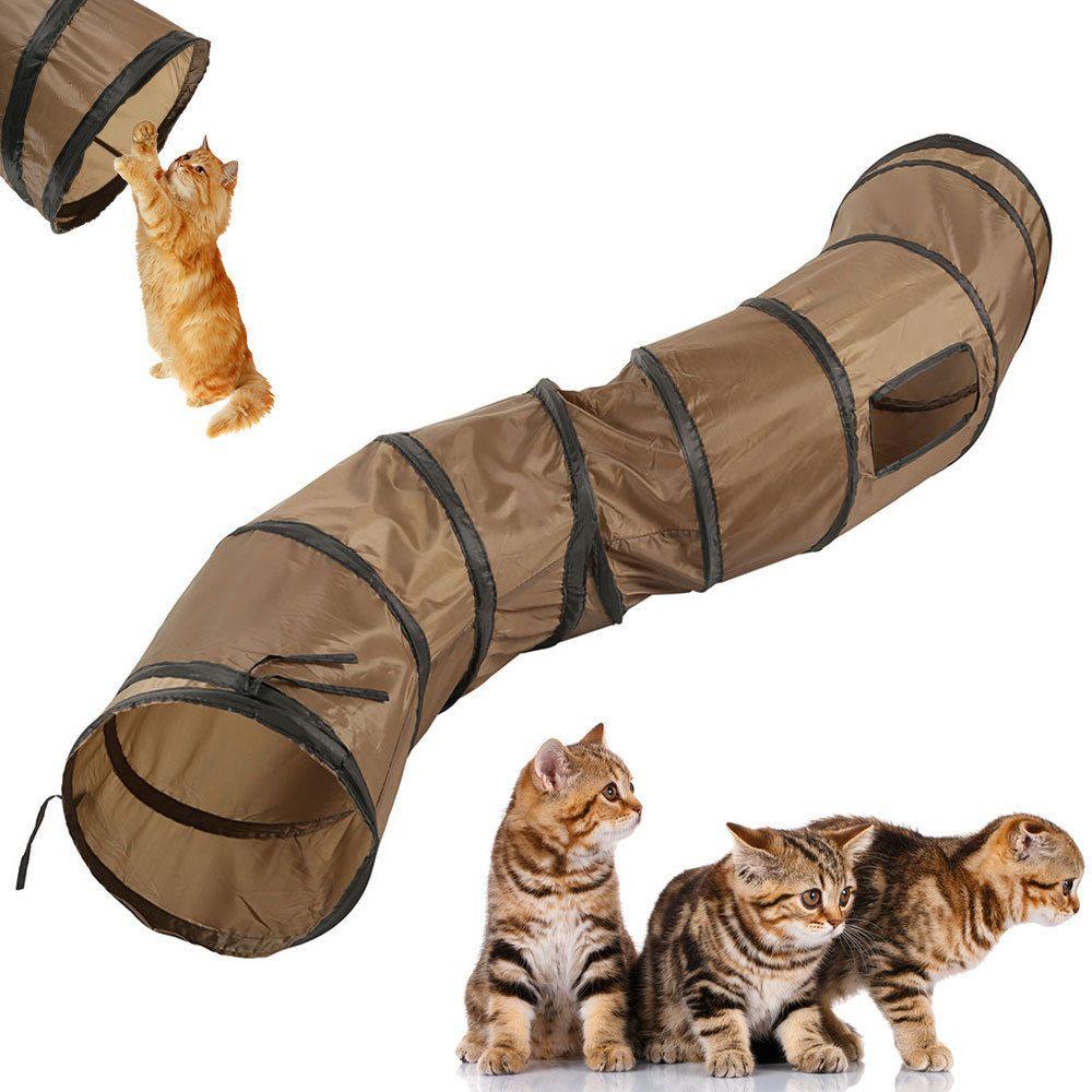 """S"" Divertido Tunnel Tunnel Cat Play Tunnel Brown Foldable 1 Agujeros Gatito Juguete Bulk Toys Tube LJ200826"