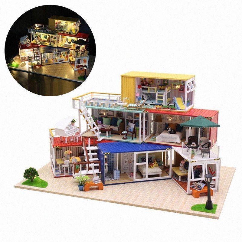 Hoomeda 13843Z 3D Puzzle de madeira DIY Handmade Container casa com tampa Música Luz DIY Dollhouse Kit 3D estilo japonês mOFC #