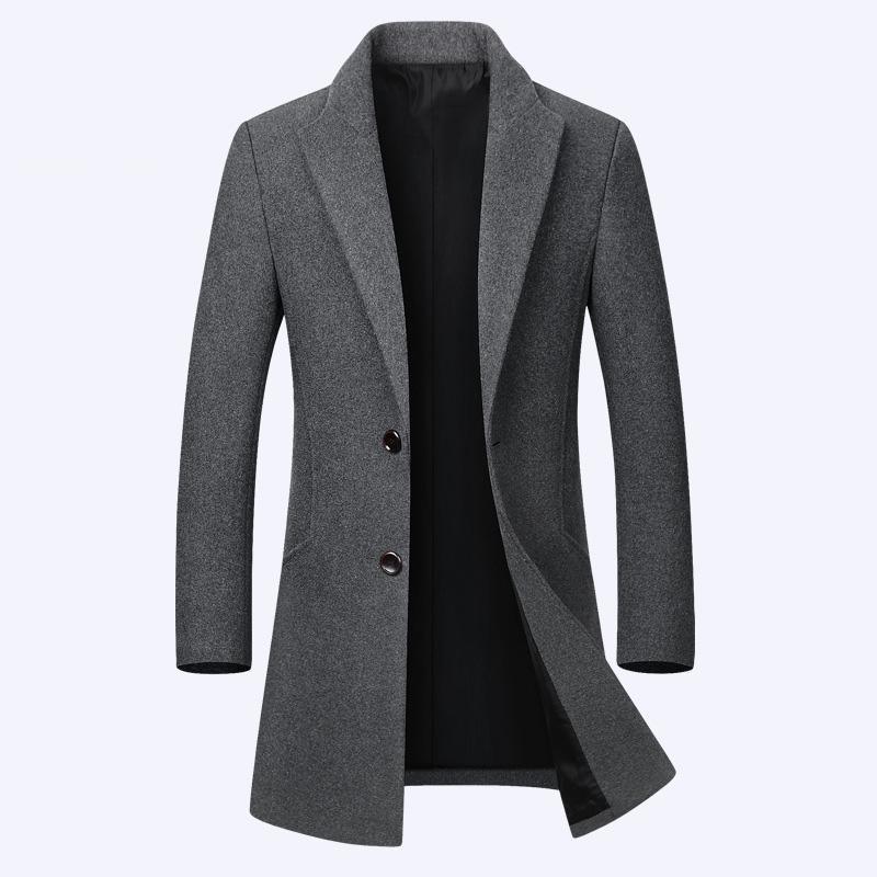 Lungo di lana del cappotto del rivestimento degli uomini casuali dimagriscono di lana Mens di lana del cappotto autunno uomini di modo inverno Giacca a vento maschile cappotto