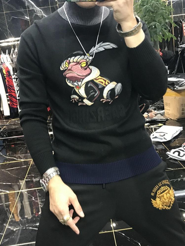 남자 스웨터 2021 겨울 고품질 캐주얼 풀오버 패션 개성 자기 재배 스타일 거북이 목 스웨터