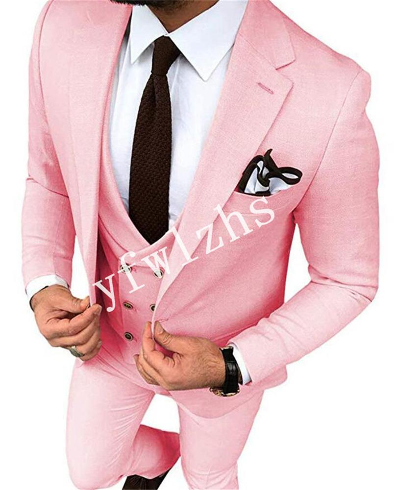 Handsome One Button Groomsmen Notch Lapel Groom Tuxedos Mens Wedding Dress Man Jacket Blazer Prom Dinner suits (Jacket+Pants+Tie+Vest) W596