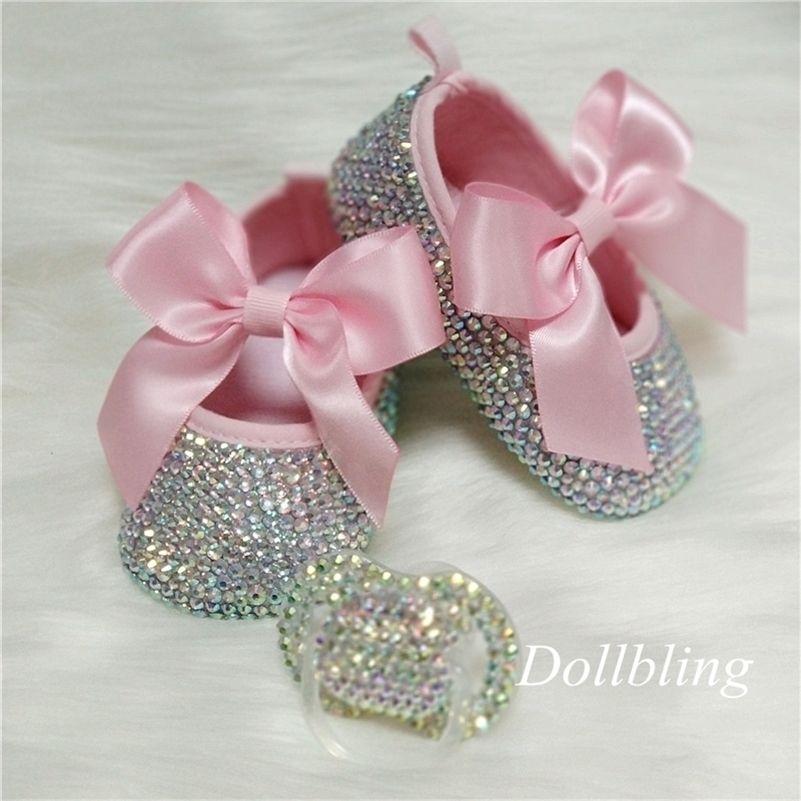 bowknot Custom Sparkle Bling Crystal Rhinestones Baby Girls Shoes Minal 0-1, ленты для ленты принцессы Обувь 201222