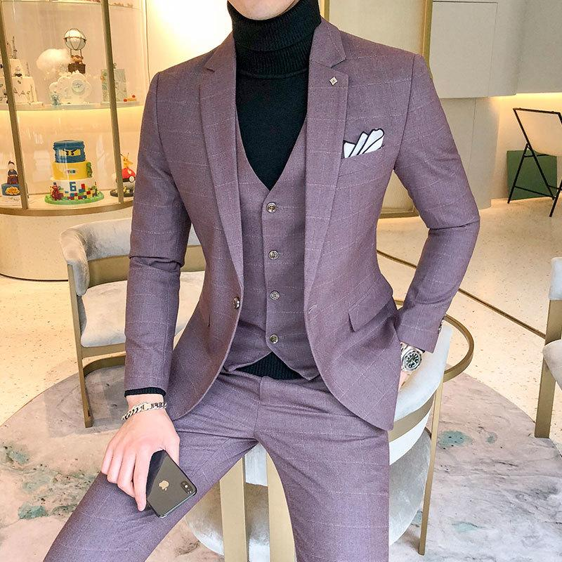 Erkekler Ekose Suit Setleri 5XL Boyut 4 Renk Vest ve Pantolon ile Yüksek uç Erkek İş Düğün Elbise Adam ceket seç