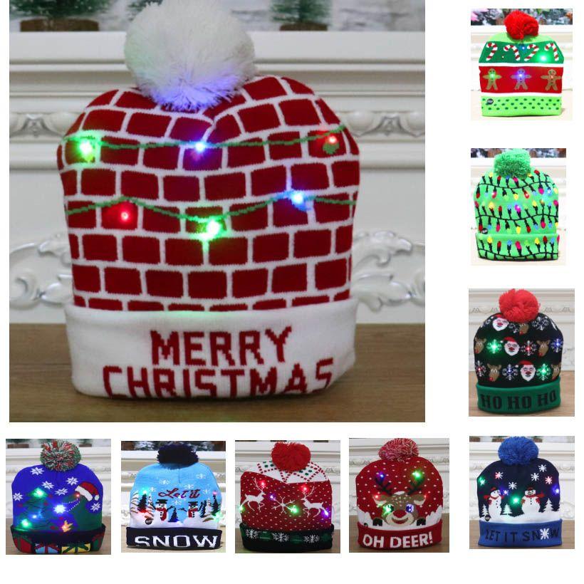 Рождественский свет водить вверх Вязаные шапки Pom Бал Шапочки Xmas лыжную шапочку Санта снеговика Олени дерево Hat для взрослых Дети HH9-2463