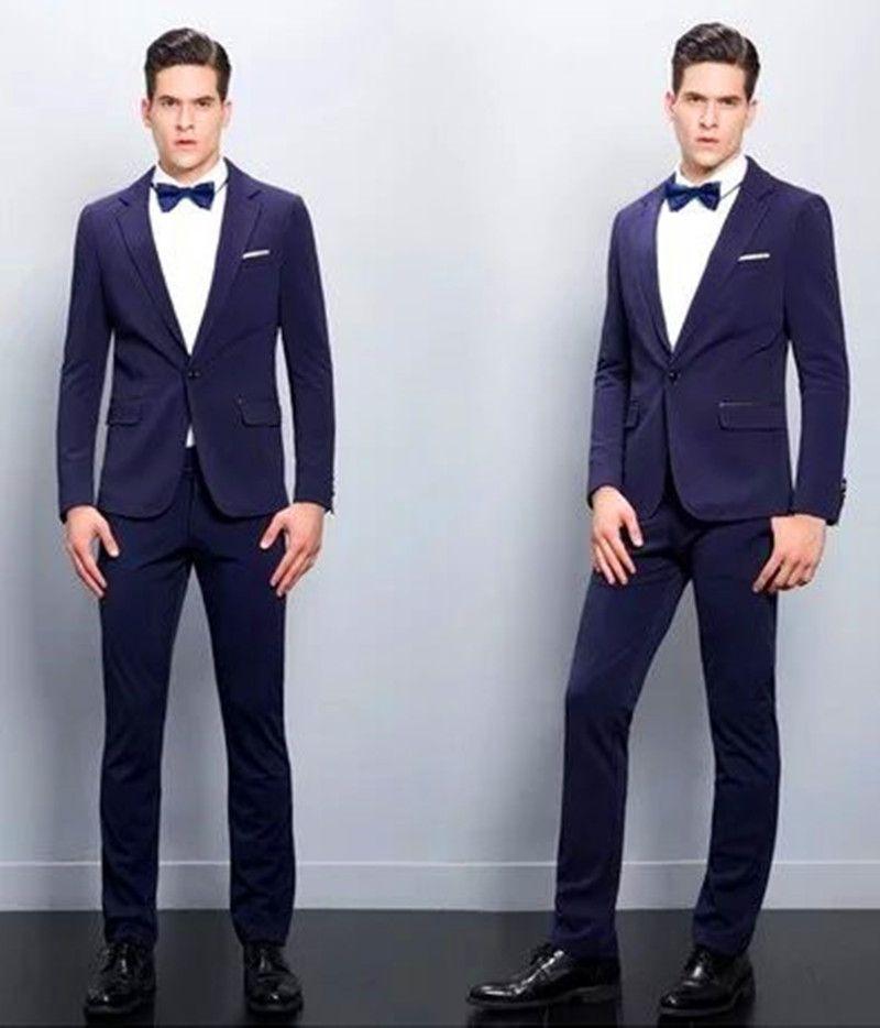 2021 Novo Estilo do Noivo Tuxedo Blue Melhor Homem Shawl Lapel Melhor Homem Terno Noiva Noivo Groom Dinner Set (Jacket + Calças