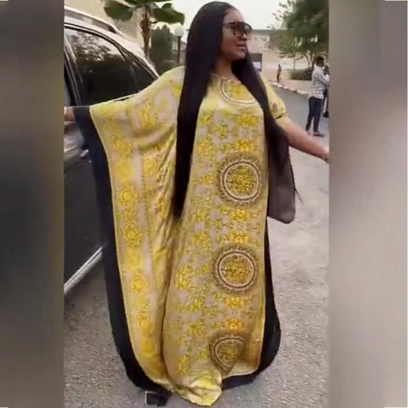 Afrikanische Kleider für Frauen 2020 Beliebte Satin Seide Sommer Frauen Kleid Italienisch Stil Kaftan Silk Kleider Muslimische Frauen Lange Kleider Y0122