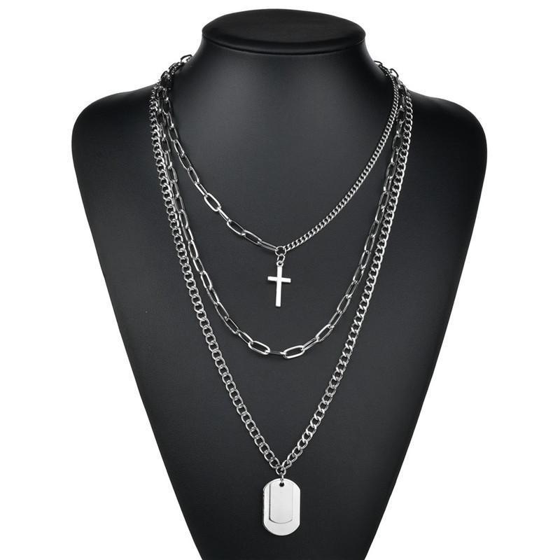 Многослойные панк-цепи Cross ожерелье пару мода хип-хоп геометрические металлические кулонные ожерелья цепь для женских ювелирных изделий