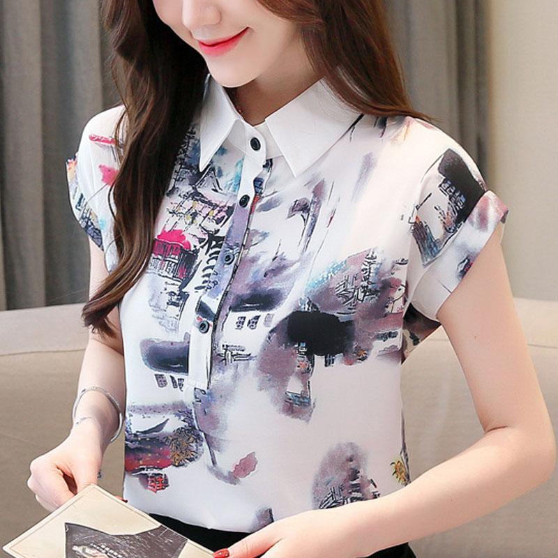 Blusas Mujer de Moda 2021 Turn Down Collar Stampa Chiffon Blusa Camicia a manica corta Camicetta Donne Estate Donne Top D45
