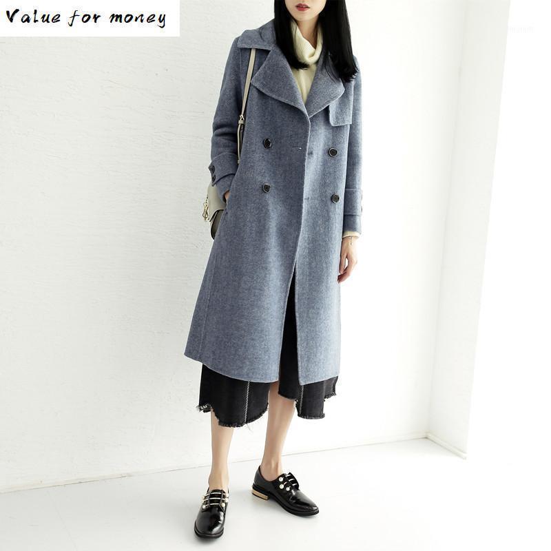 Yün Uzun Ceket Rahat İlkbahar Sonbahar Ceket Kadın Giysileri 2020 Kore Zarif Kadın Yün Mont Giyim 2224 ZT24771