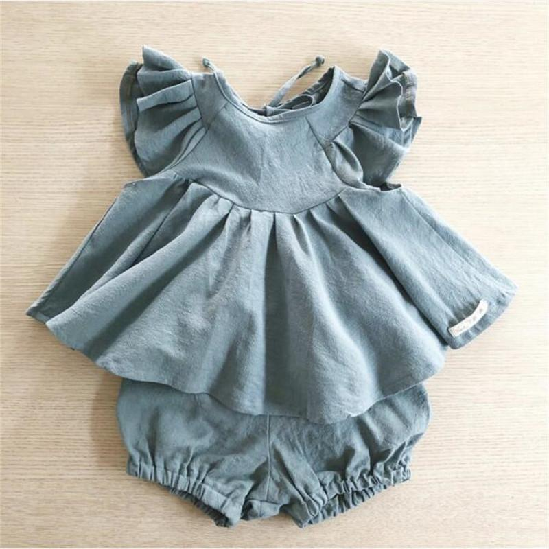 EnkeliBB 2019 Summer Baby Girls Clothes Sets Ruffle T Shirt + Bloomers Sweet Toddler Girl Summer Clothes Suits Loose Style Suits C1223