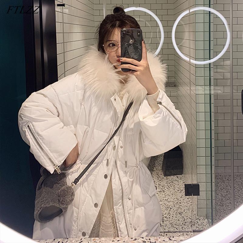 Женские Parkas Ftlzz 2021 зимние женщины с капюшоном натуральный меховой воротник длиной 90% белая утка уличная одежда теплый снег зеленый