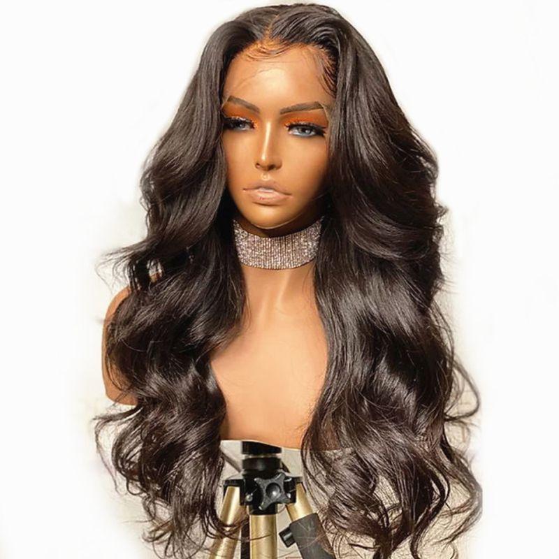 Remy brasileño 13x6 frontal de encaje pelucas de pelo humano 180% 5x5 densidad superior de seda del frente del cordón de la onda del cuerpo Pre desplumados pelucas para mujeres Negro