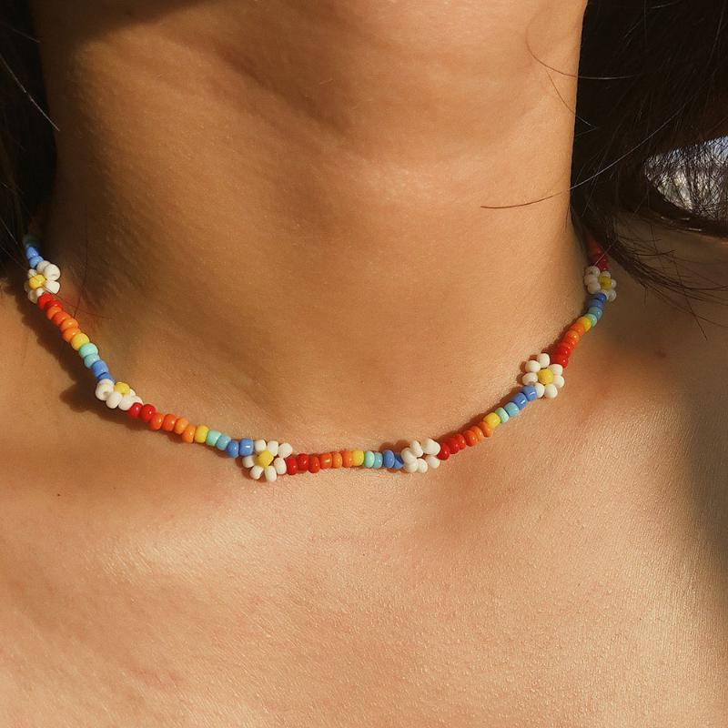 Богемский цветастый Бисер Chain себе цветок Choker ожерелья Короткого воротника ключица цепи ожерелье ювелирных изделий для женщин