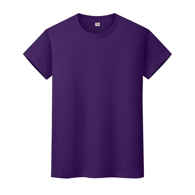 Nueva camiseta de color sólido de cuello redondo Camisa de fondo de algodón de verano para hombre y mujer de manga corta con manga corta L0QD