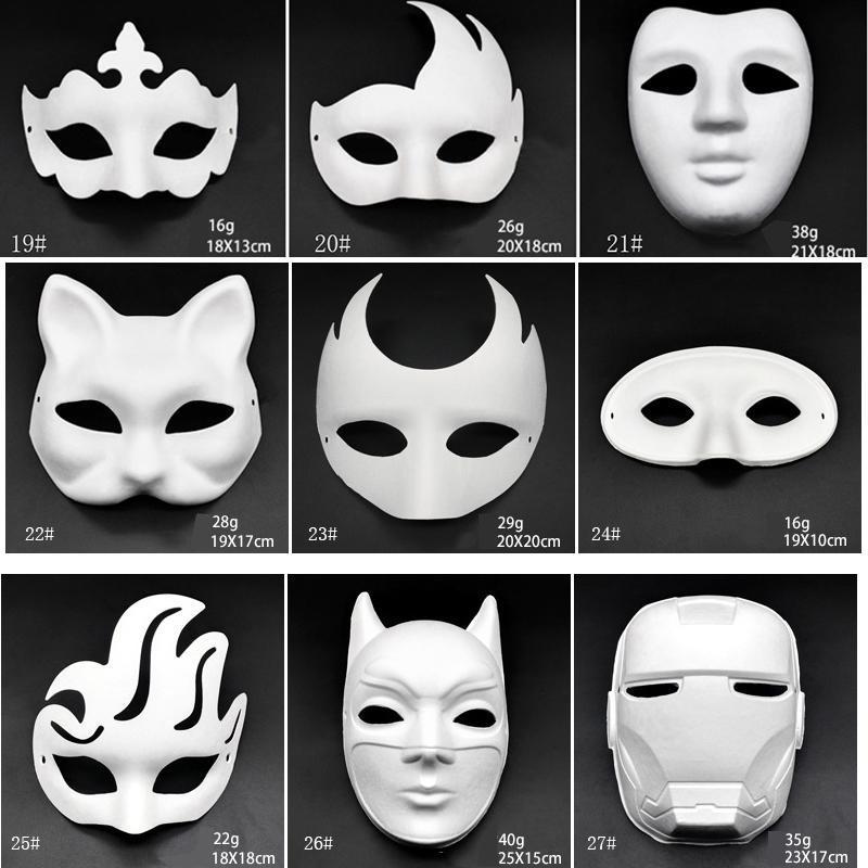 Белый макияж Танец Маски Эмбрион Mold DIY картины ручной работы маски Целлюлозно животных Хэллоуин фестиваль партии Маски White Paper Face Mask BH2912 DBC