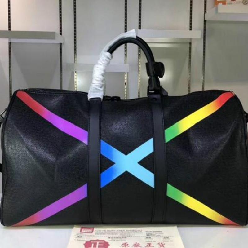 Fashion Designer di lusso classico arcobaleno x forma grande borsa da viaggio cuscino borse borse borse bagagli borse in pelle reale con spalla a tracolla