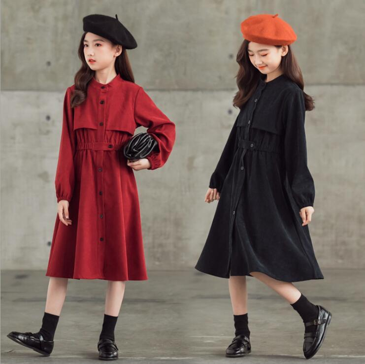 Dziewczyny Dresses Girls Christmas Dress Jesień Zima Nastoletnia Dziewczyna Czarne Czerwone Slim-Fit Corduroy Długie Dzieci Dla Dzieci Odzież