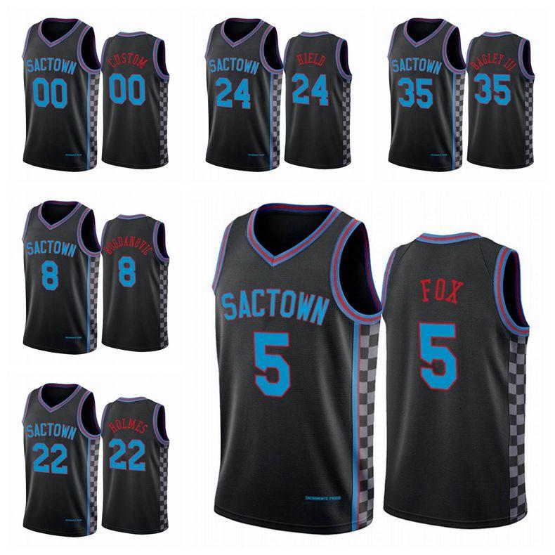 Sacramento.Kings.Männer Buddy Hield Deaaron Fox 2020/21 Swingman City Basketball Jersey Black Icon Edition